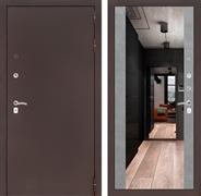 Входная металлическая дверь Лабиринт Классик с Зеркалом Максимум (Антик медный / Бетон светлый)