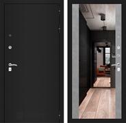 Входная металлическая дверь Лабиринт Классик с Зеркалом Максимум (Шагрень черная / Бетон светлый)