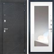 Входная металлическая дверь Интекрон Сенатор Лучи с Зеркалом (Венге распил кофе / Белая матовая)