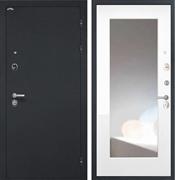 Входная металлическая дверь Интекрон Греция с Зеркалом (Чёрный шелк / Белая матовая)