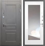 Входная стальная дверь Интекрон Брайтон с Зеркалом (Дуб вуд графит / Белый матовый)