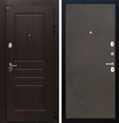 Входная стальная дверь Интекрон Брайтон Лучи-М (Тиковое дерево / Венге распил кофе)