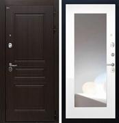 Входная стальная дверь Интекрон Брайтон с Зеркалом (Тиковое дерево / Белый матовый)