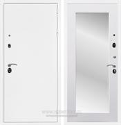 Входная металлическая дверь Армада 5А с зеркалом Пастораль (Белая шагрень / Белый матовый)