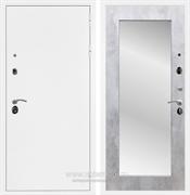 Входная металлическая дверь Армада 5А с зеркалом Пастораль (Белая шагрень / Бетон светлый)
