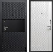 Входная металлическая дверь Тефлон (Чёрный кварц / Белый снег)