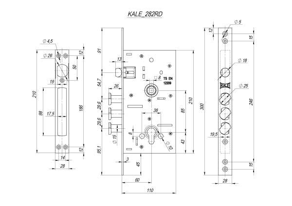 Схема дверного замка - KALE 282 RD (новинка)